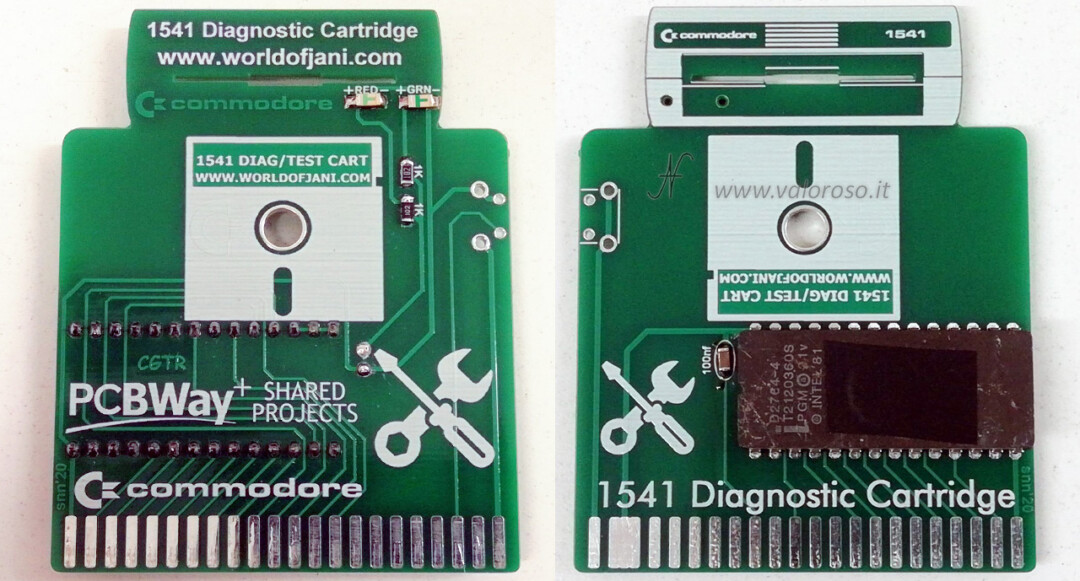 "Commodore 1541 Diagnostic Cartridge by Jani per Commodore 64, alignment check allineamento drive floppy 5.25 51/4, disk show bam, disk command, directory, error scan, fast format, head exerciser, send i0:, reverse knock, speed check, performance test, validate disk, sector view, tracce settori controllo lettura, drive floppy 5.25"" 5""1/4"