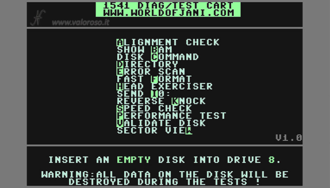 1541 Diagnostic Cartridge by Jani per Commodore 64, alignment check allineamento drive floppy 5.25 51/4, disk show bam, disk command, directory, error scan, fast format, head exerciser, send i0:, reverse knock, speed check, performance test, validate disk, sector view, tracce settori controllo lettura