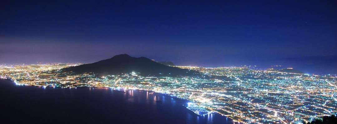 Amedeo Valoroso, by night, city, Faito, Italy, sea, Naples, panorama, sea, Vesuvius