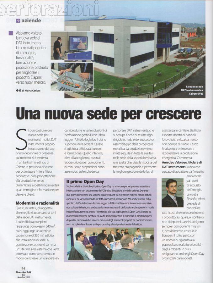2011, Amedeo Valoroso, intervista rivista Macchine Edili, n10