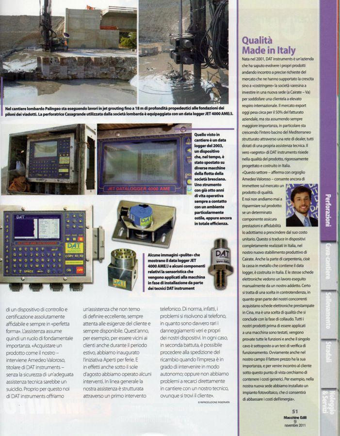 2011, Amedeo Valoroso, intervista rivista Macchine Edili, n9