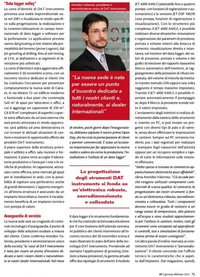 2012, Amedeo Valoroso, intervista rivista PF, n1