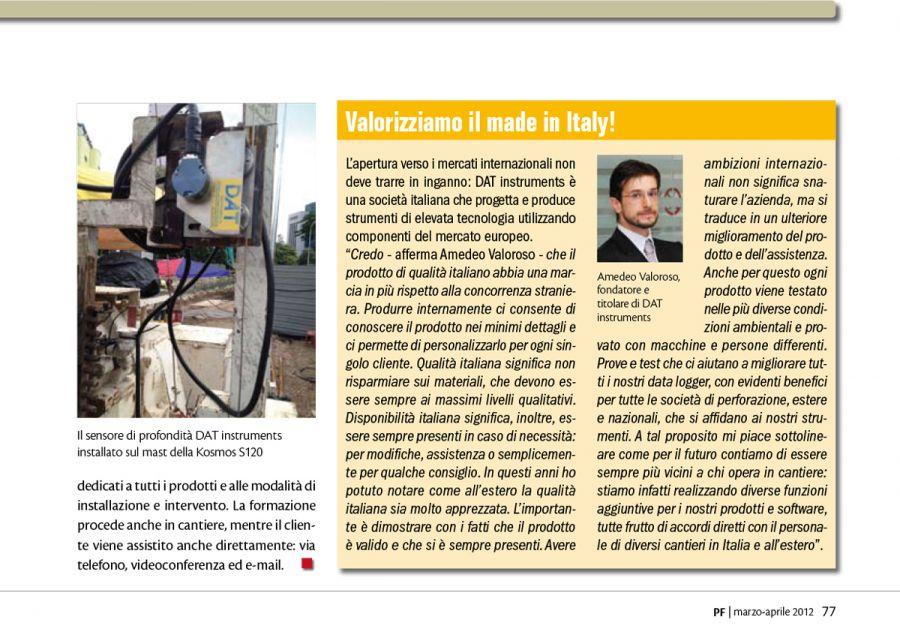 2012, Amedeo Valoroso, intervista rivista PF, n2