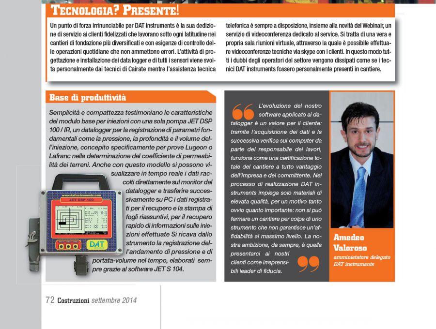 2014, Amedeo-Valoroso, intervista rivista Costruzioni, n9