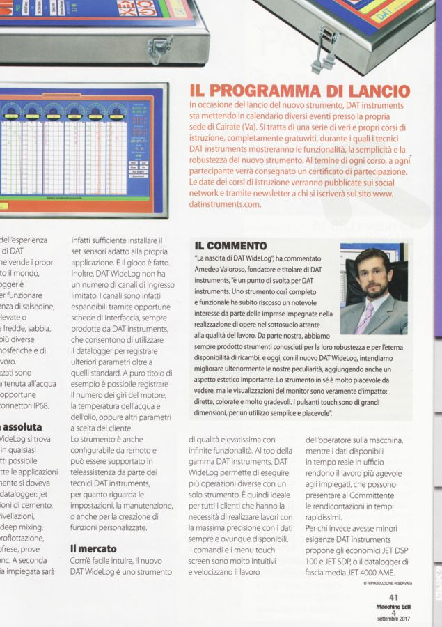 2017, Amedeo Valoroso, intervista rivista Macchine Edili, n4