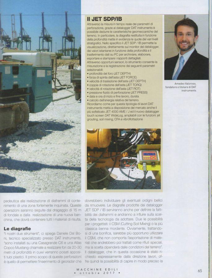 2017, Amedeo Valoroso, intervista rivista Macchine Edili, n5