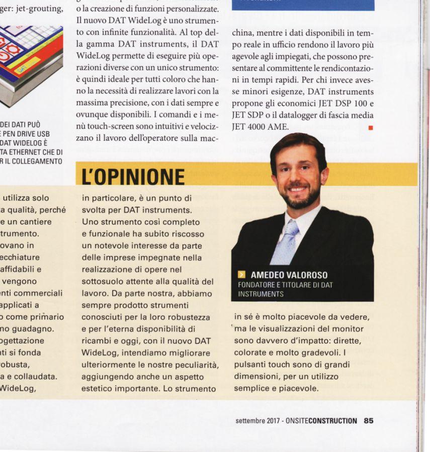 2017, Amedeo Valoroso, intervista rivista OnSite Construction, n6