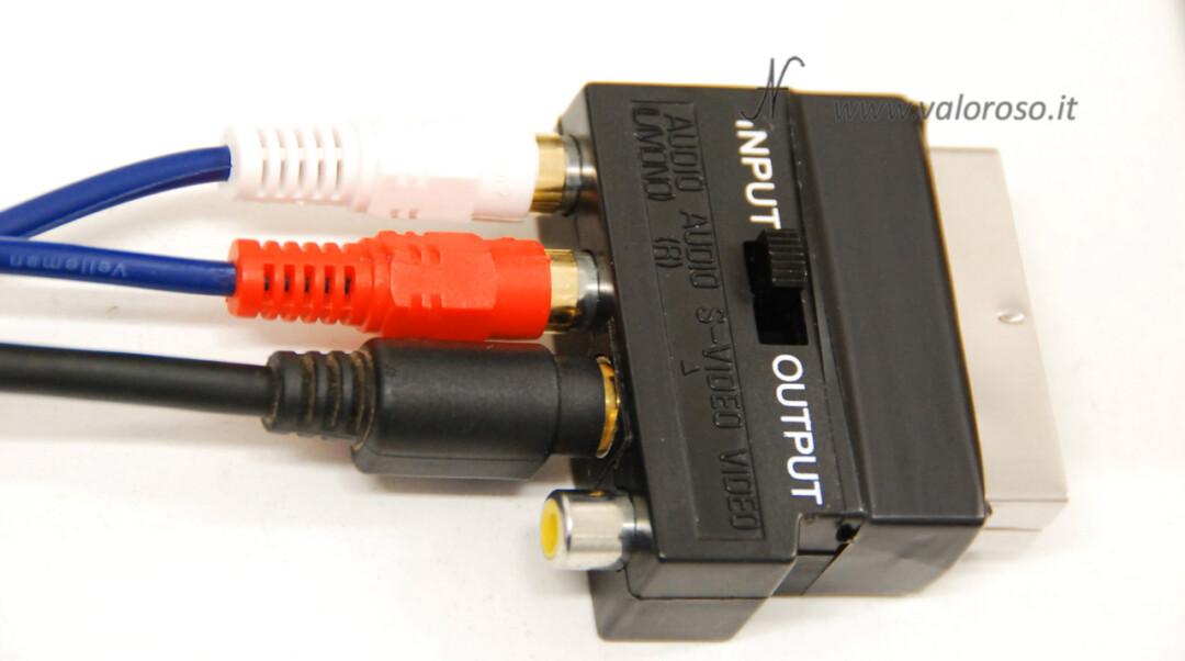 Adattatore convertitore SCART S-Video SVideo video composito audio RCA imput output scarsa qualità vede male problemi errore