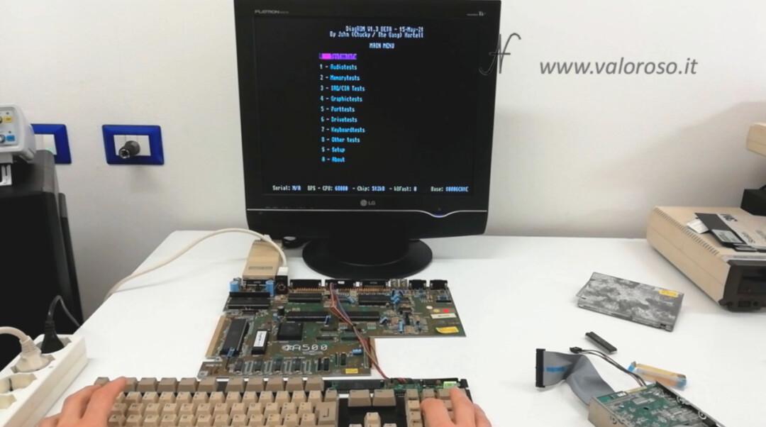 Amiga 500 DiagROM, main menu test tests controls
