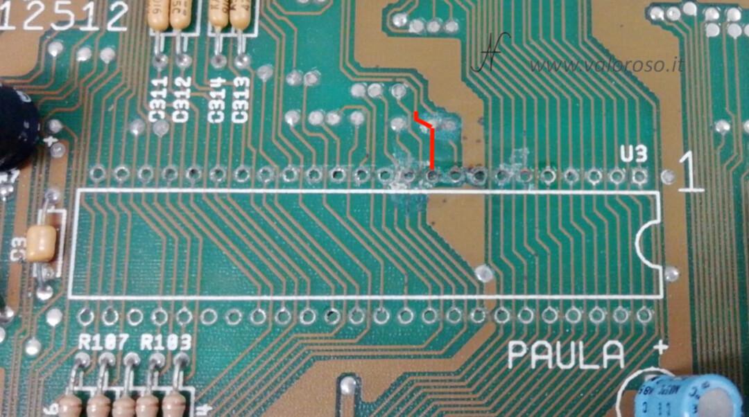 Amiga 500 PCB chip Paula CSG 8364R7 BUS ricostruzione percorso pista traccia 2