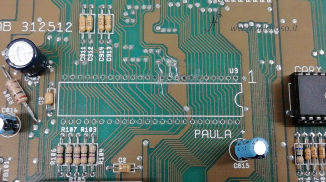Amiga 500 PCB chip Paula CSG 8364R7 data path ricostruzione piste tracce circuito stampato