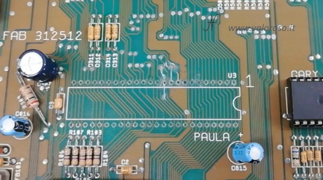 Amiga 500 PCB chip Paula CSG 8364R7 pista traccia 1 ricostruita solder