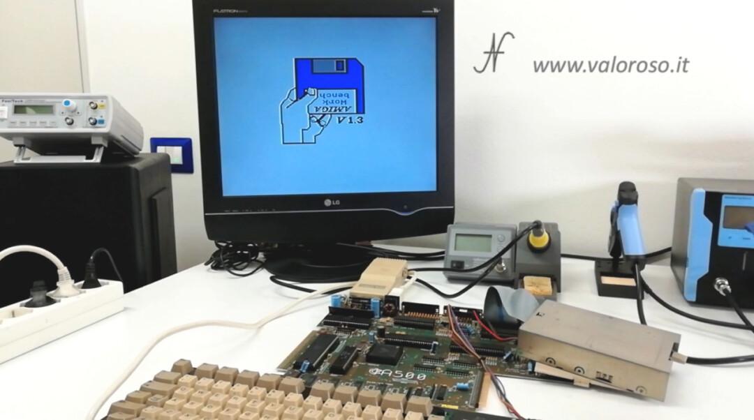 Amiga 500 collegare tastiera floppy disk drive prova caricamento giochi, Amiga Work bench V1.3