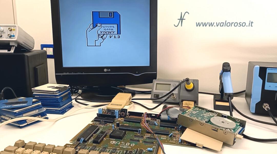 Amiga 500 collegare tastiera floppy disk drive prova caricamento giochi non va, Amiga Work bench V1.3