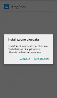 Smartphone Android, installazione KingRoot, applicazioni di origine sconosciuta, root
