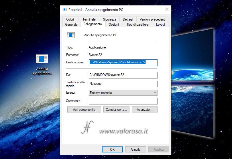 Annullare evitare lo spegnimento del computer shutdown /a -a proprieta collegamento sul desktop, cambiare icona collegamento