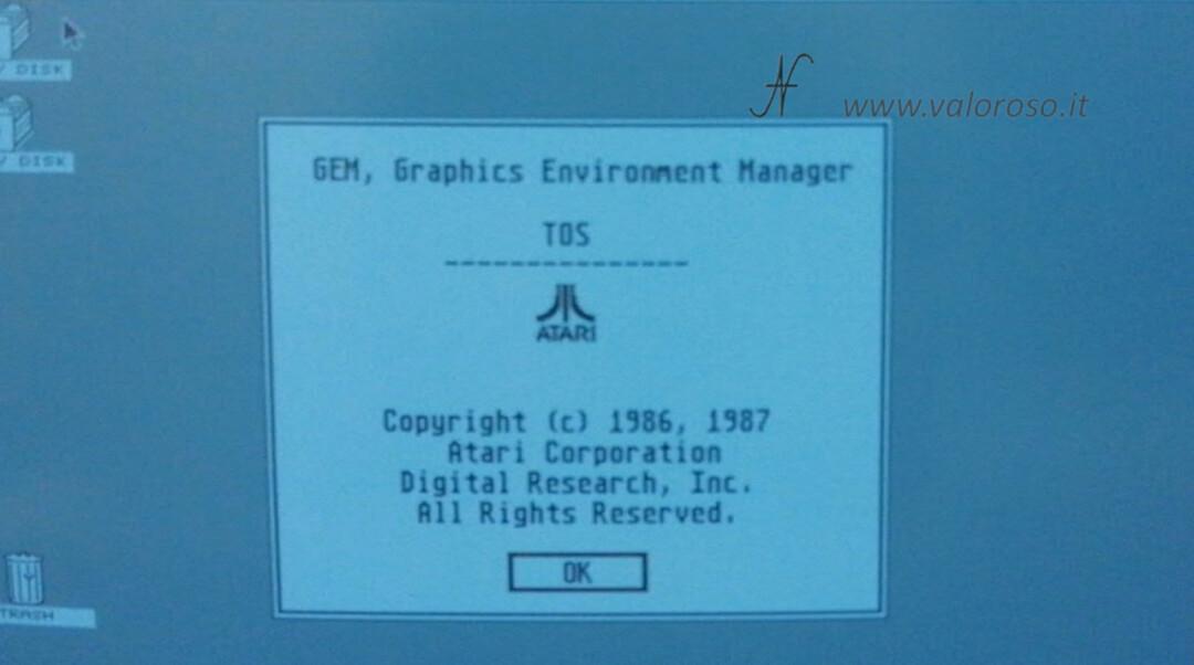Atari 1040 ST Atari ST GEM TOS sistema operativo desktop info Digital Research 1986 1987, GEM Graphics Environment Manager TOS The Operating System