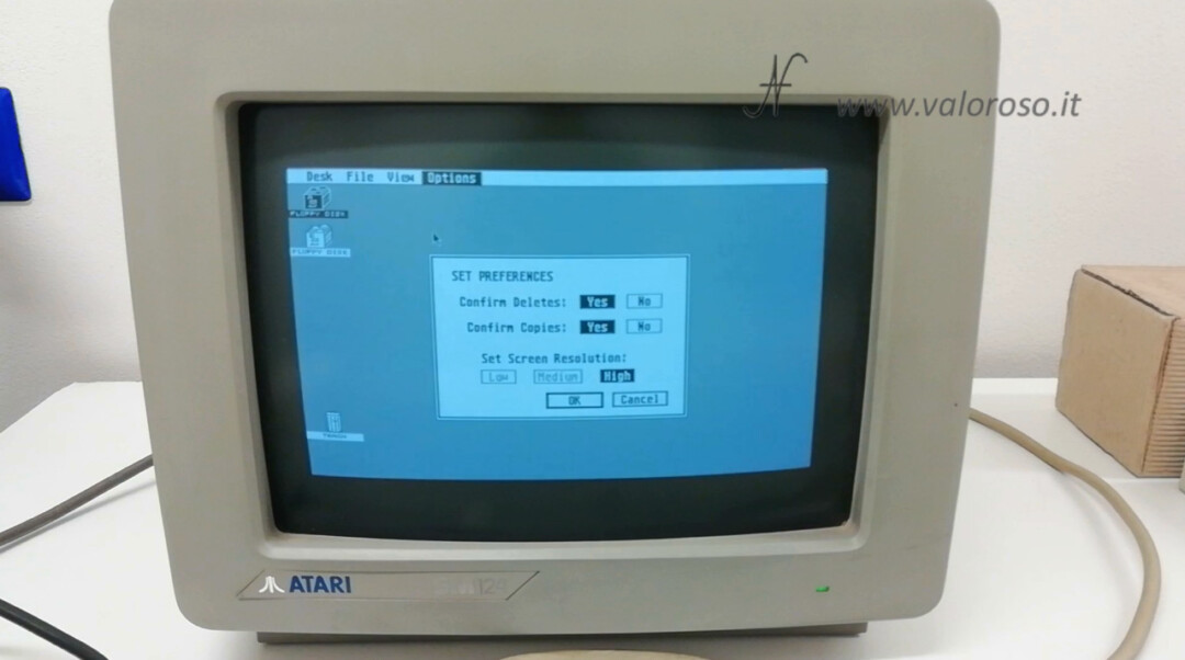 Atari 1040 ST Atari ST GEM TOS operating system menu options set preferences
