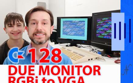 C128 doppio monitor colori, due display, convertitore RGBI CGA VGA, cavo SVideo