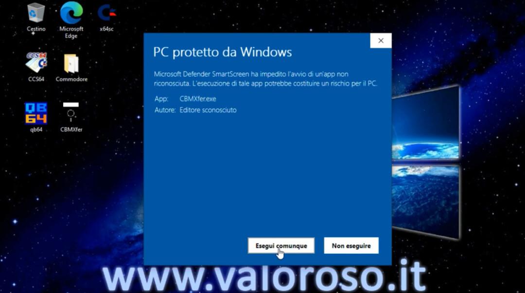 CBMXfer 110 1.10 CBM-Transfer avvio utilizzo Windows 10, Windows Defender Smart Screen esegui comunque, PC protetto da Windows
