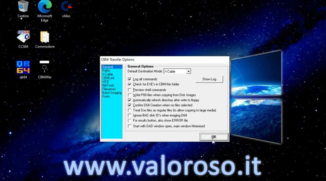 CBMXfer 110 1.10 CBM-Transfer options impostazioni confermare, X-Cable