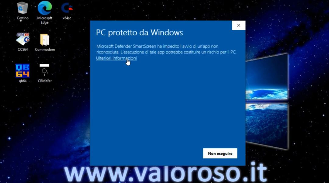 CBMXfer 110 1.10 avvio utilizzo Windows 10, Windows Defender Smart Screen non eseguire, protezione, ulteriori informazioni, PC protetto da Windows