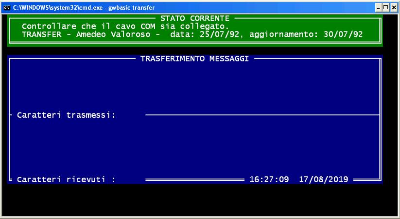 COM TRANSFER, programma di messaggistica su porta seriale COM RS232, GWBASIC, DOS