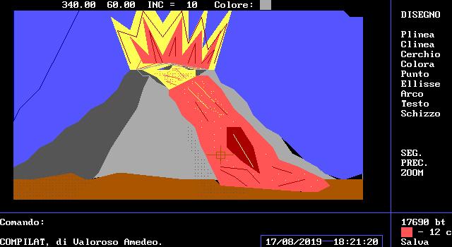 COMPILAT, drawing software, Amedeo Valoroso, GWBASIC, Volcano