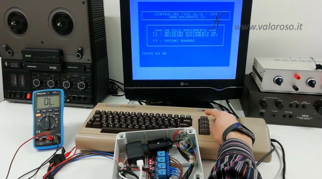 Centralina per Fiat X1-9 con il Commodore 64, software Basic avviamento autovettura automobile X1/9