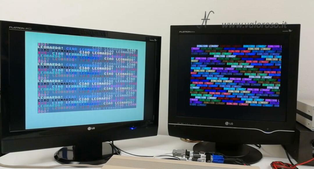 Connect two monitors to Commodore 128, C128 dual color monitor, RGBI CGA to VGA 15kHz Basic program, dual monitor port