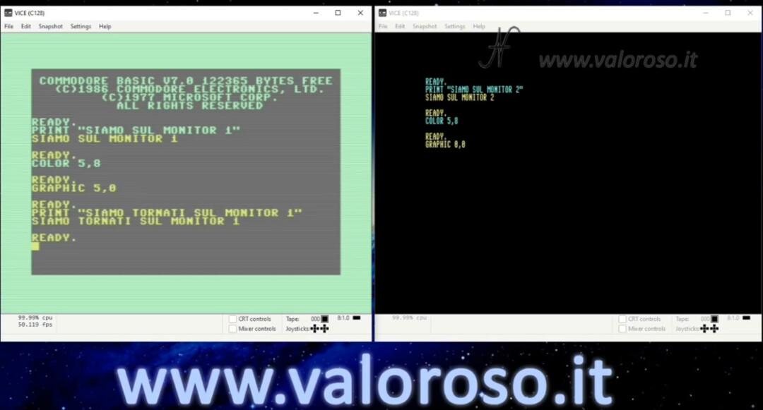 Connect two monitors to Commodore 128, C128 dual color monitor, Basic program emulator Vice Graphic 5.0 Graphic 0.0 Color WinVice