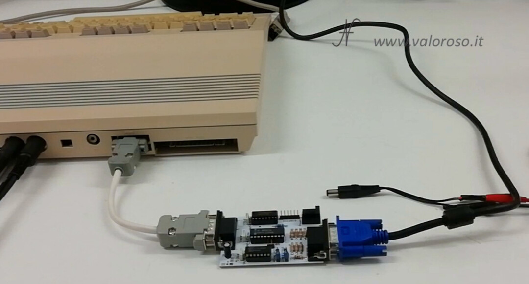 Connect two monitors to the Commodore 128, RGBI CGA to VGA 15kHz interface converter adapter cables
