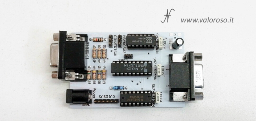 Connect two monitors to Commodore 128, RGBI CGA to VGA 15kHz interface converter adapter diy kit assembled