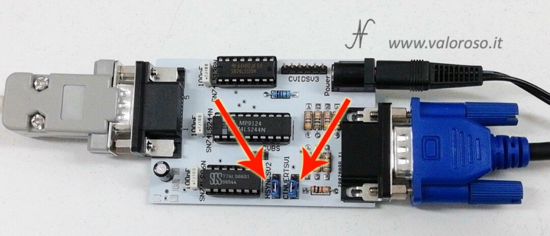Connect two monitors to Commodore 128, RGBI interface converter adapter kit CGA to VGA 15kHz jumpers, CINVERTSV1 HSYNCSV2, reverse sync