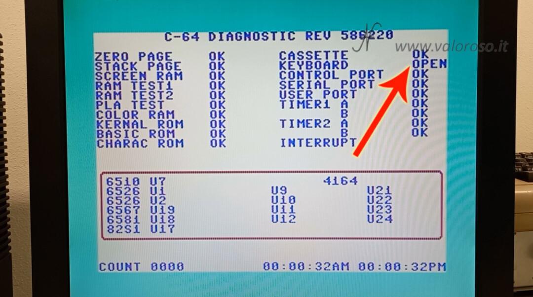Come riaccendere il Commodore 64 test diagnostico cartuccia 586220 C64 con harness connettori collegati keyboard open, ram zero stack screen pla kernal basic rom charac cassette keyboard control port serial port user port timer1 timer2 timer interrupt sound test SID 4164 6510 6526 6567 6581 82S1 U7 U1 U2 U19 U18 U17 U9 U10 U11 U12 U21 U22 U23 U24 4066 c-64 diagnostic rev 586220 ok