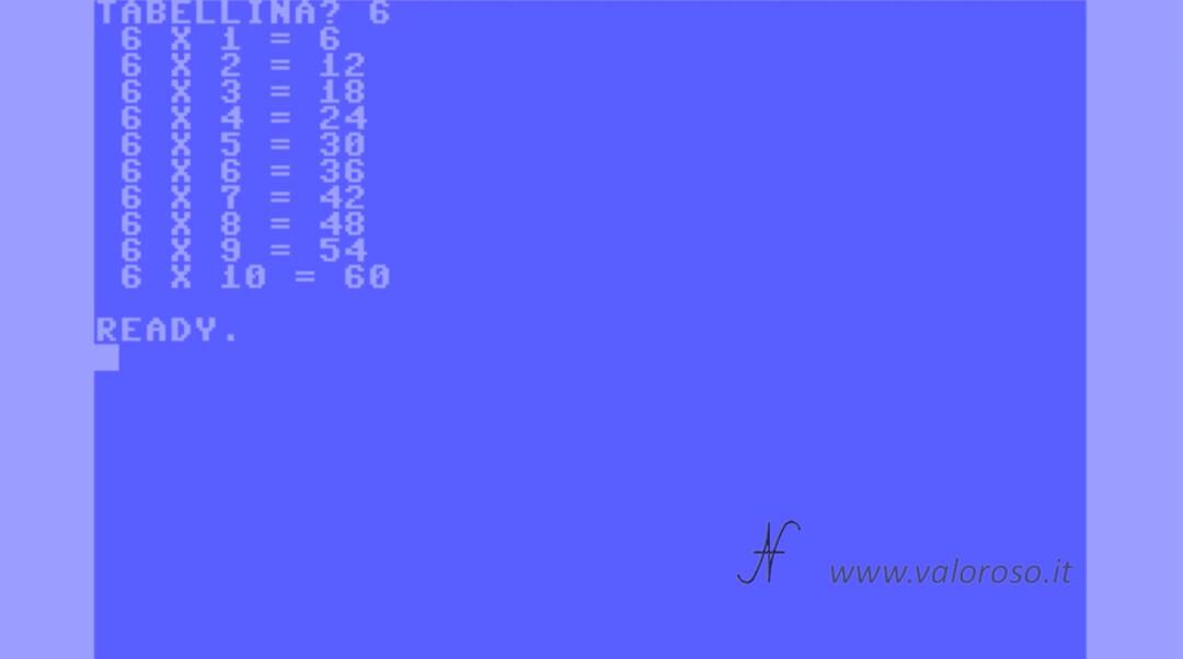 Come scrivere un programma in Basic V2 Commodore 64 tabellina