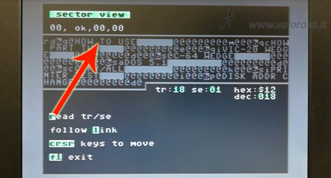 Commodore 1541 Diagnostic Cartridge by Jani sector view displays sector 1 disk track 18 directories