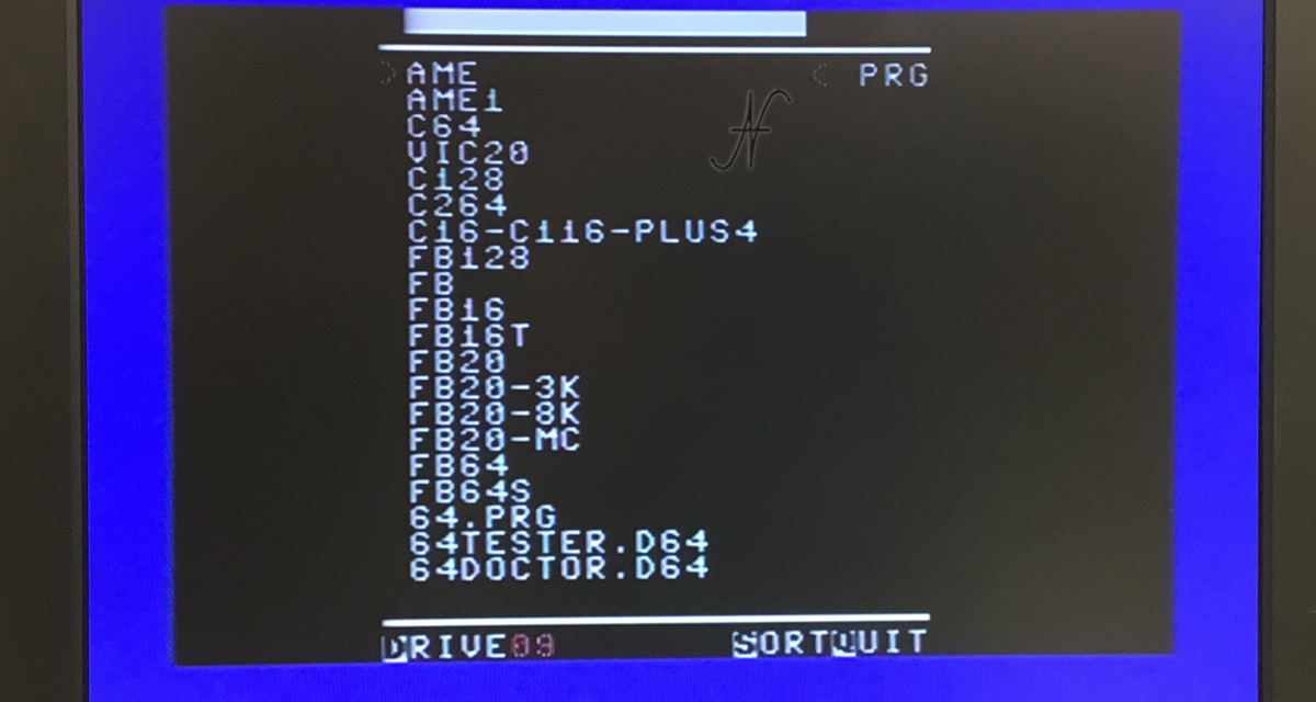 Commodore 16, emulatore SD2IECm, elenco cartelle
