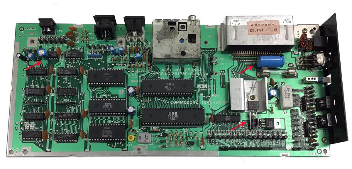 Commodore 16, recapping, sostituzione condensatori, recap, riparazione, aggiunta condensatori, protezioni, transil, 1984, assy no 250443, pcb no 251789-01 rev a