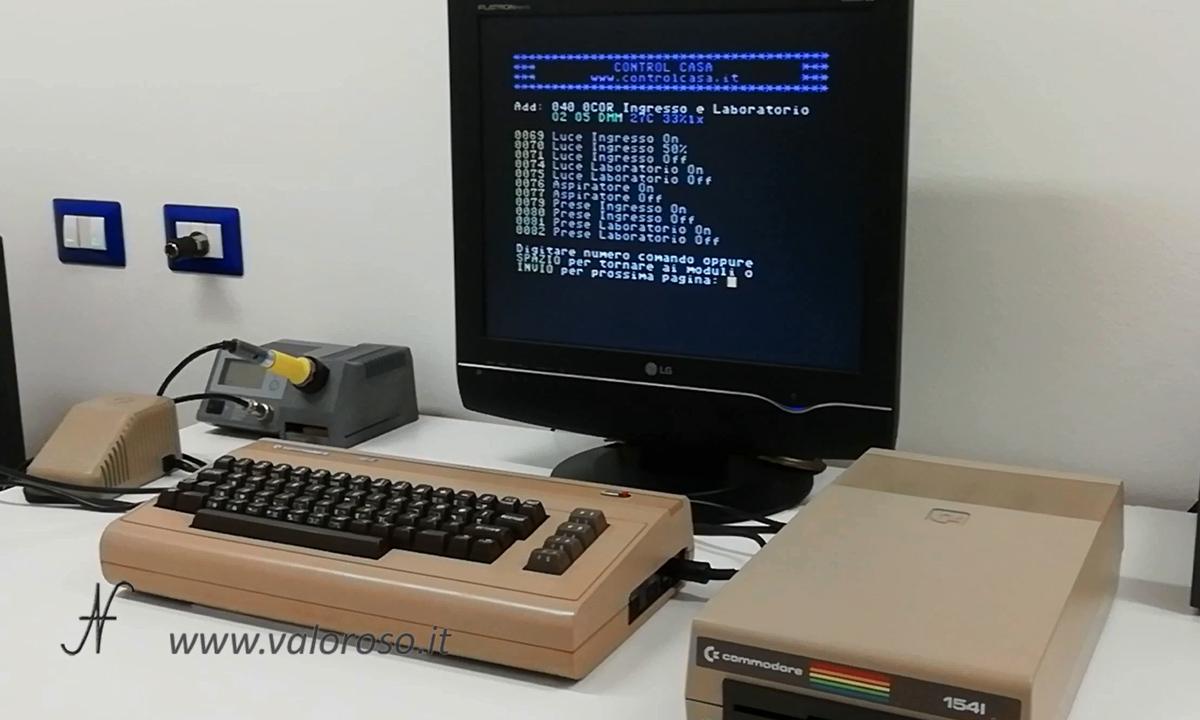 Domotica con il Commodore 64, controllo prese luci carichi tapparelle, impianto domotico