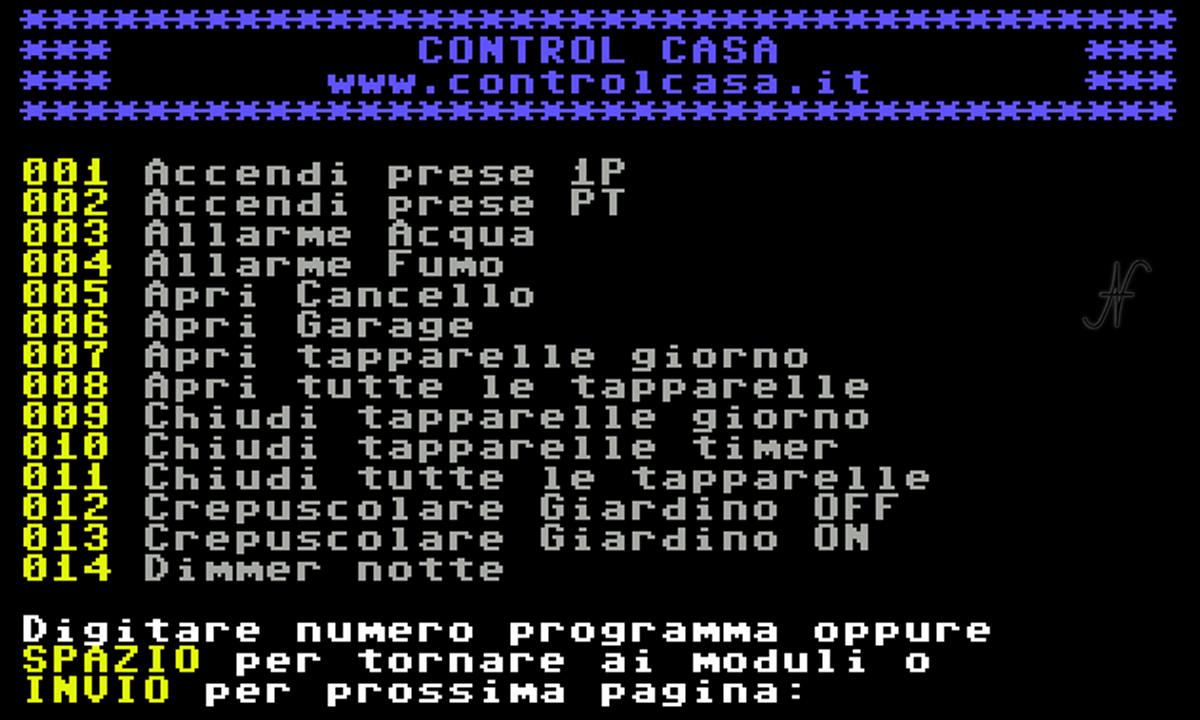 Commodore 64, domotica, prese, luci, carichi, tapparelle, Control Casa, Control Manager