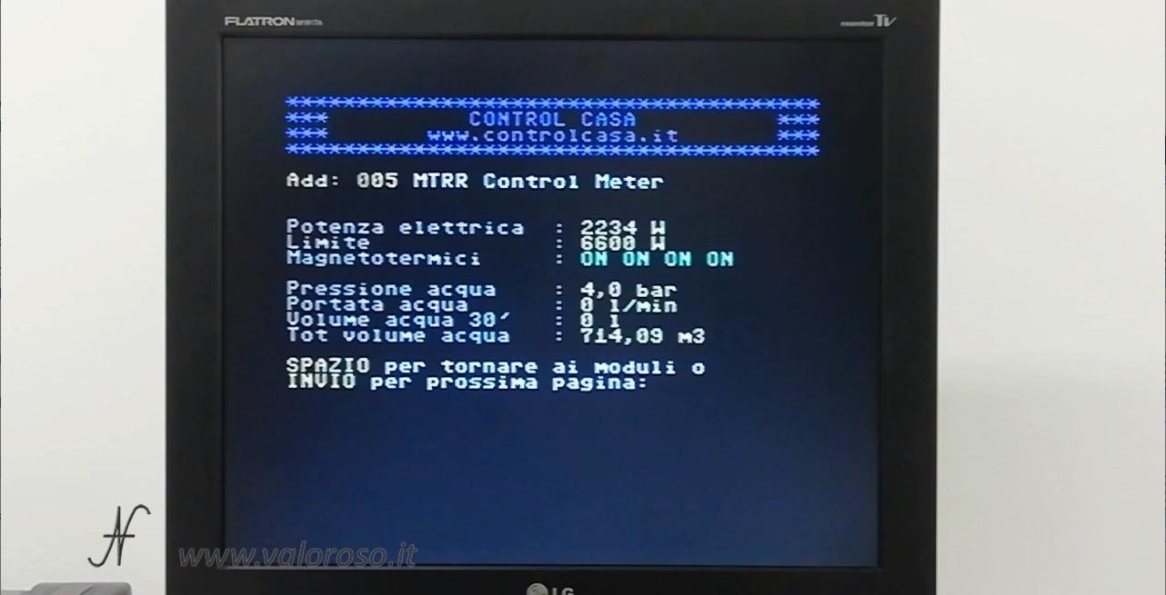 Commodore 64 e domotica, controllo carichi, Control Casa, misura potenza elettrica contatore, stato interruttori magnetotermici differenziali salvavita, misura consumo acqua, pressione acqua, m3, quantità, portata, flusso, totale, metri cubi, litri, bar