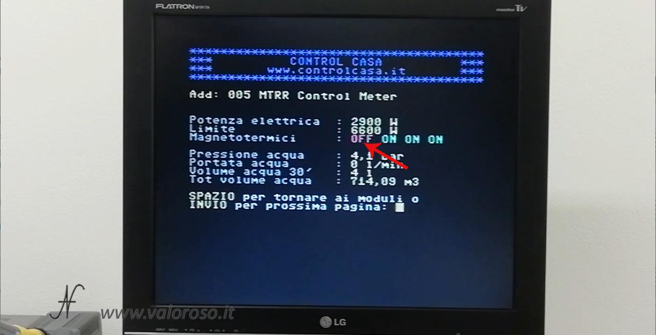 Commodore 64 e domotica, controllo carichi, Control Casa, verifica stato interruttori magnetotermici differenziali salvavita, controllo blackout, scatta contatore, salta corrente