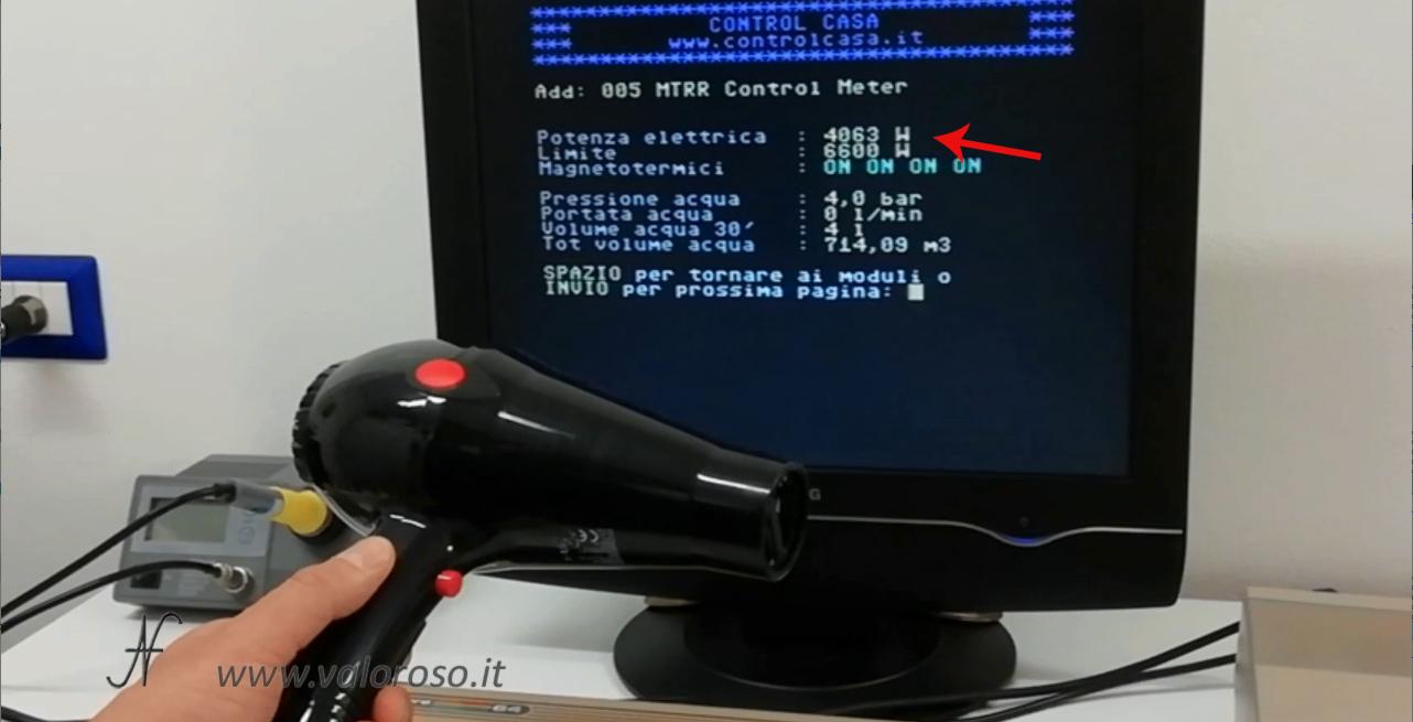 Commodore 64 e domotica, controllo carichi, Control Casa, misura potenza elettrica contatore, watt, W, rete, KW, stato interruttori magnetotermici differenziali salvavita, consumo potenza phon
