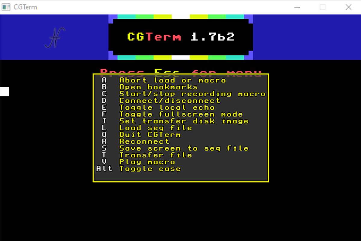 Commodore 64, emulatore terminale petscii Windows, CGTerm, alternativa al modem wifi per Commodore 64