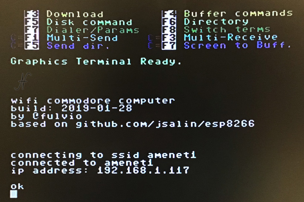 Commodore 64, impostazioni modem wifi, internet, ssid, password, graphics terminal, CCGMS