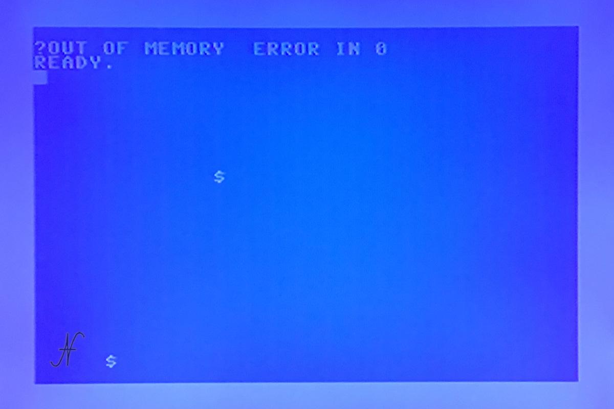 Commodore 64, ?out of memory error in 0, ready, caratteri strani su schermo, difetto memoria, RAM difettosa