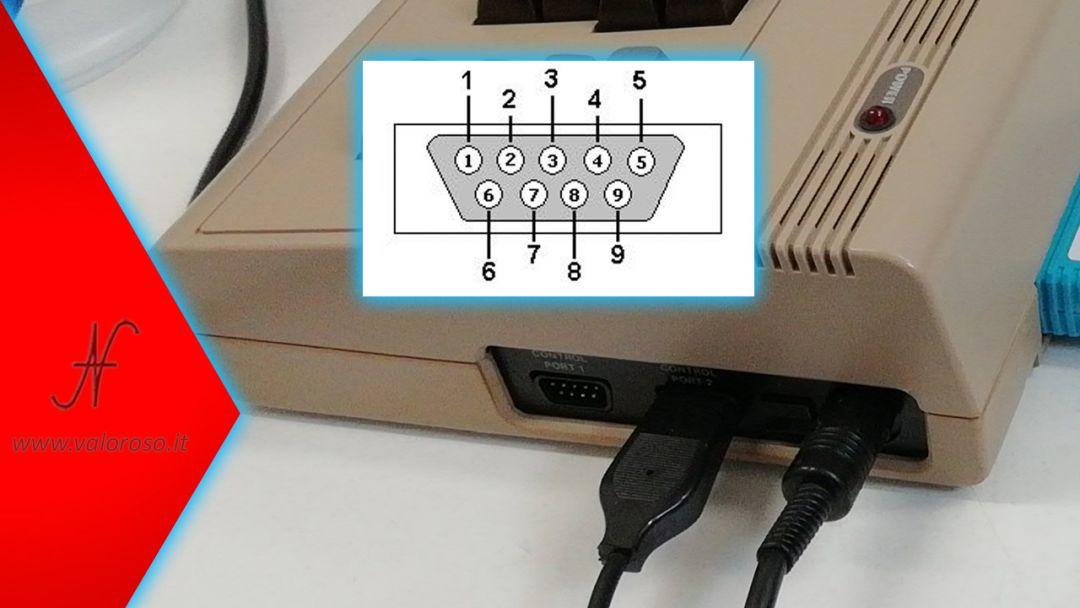 Commodore 64, pin piedini pinout collegamenti porta joystick, DB9 maschio