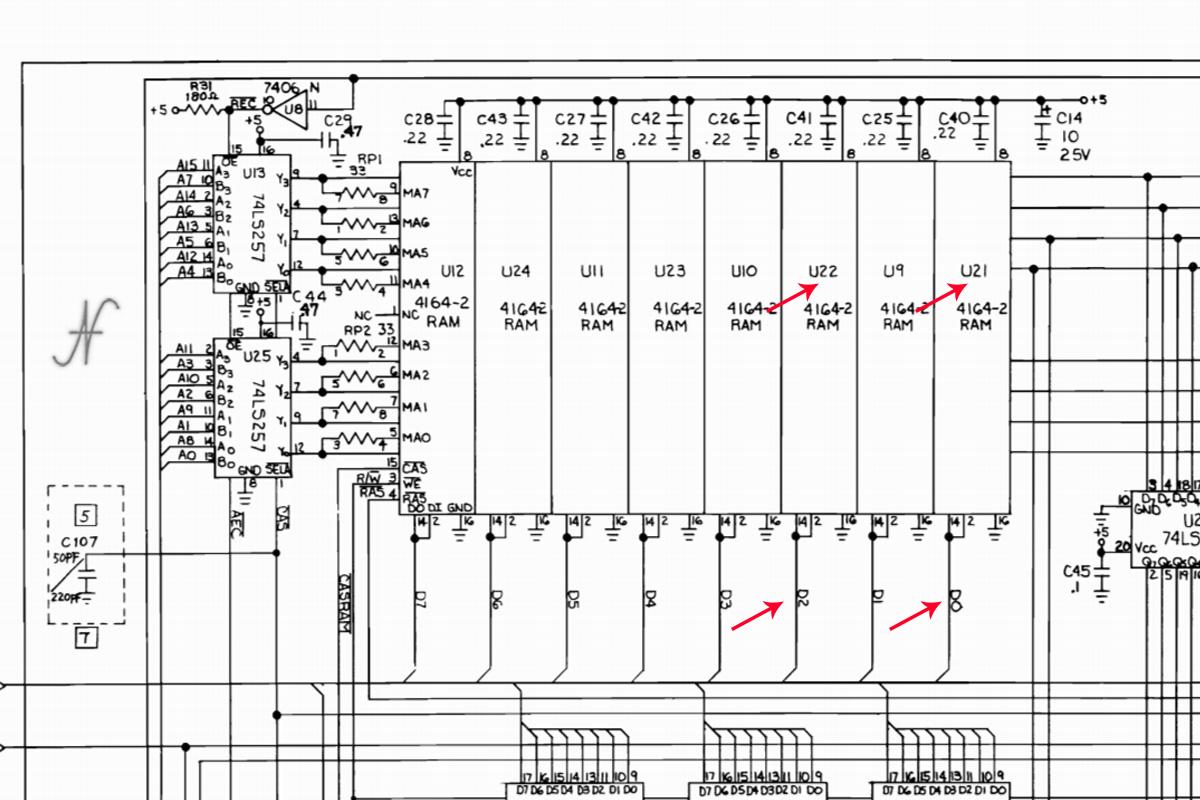 Commodore 64, schema elettrico, schema RAM, chip memoria MT4264-15, MT4264-20, 4164-2, HM4864P-2, M3764-15RS, D0 U21, D1 U9, D2 U22, D3 U10, D4 U23, D5 U11, D6 U24, D7 U12, 64Kx1 150ns 16-pin DIP DRAM chip