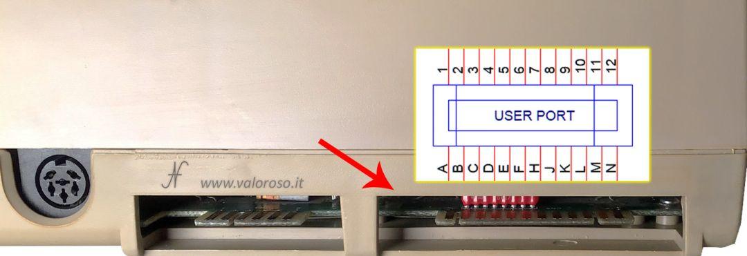 Commodore 64 user port, collegamenti, pinout, piedinatura, contatti, ingressi uscite PB0-PB7